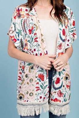 Easel Floral Fringe Kimono