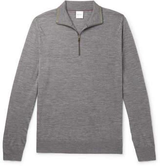 Paul Smith Slim-fit Merino Wool Half-zip Sweater - Gray