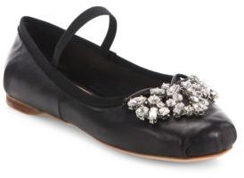 Miu Miu Crystal-Embellished Leather Ballet Flats $790 thestylecure.com