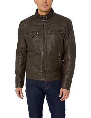 LN LUCIANO NATAZZI Men's Trim Fit Sand Blast Lambskin Leather Moto Jacket