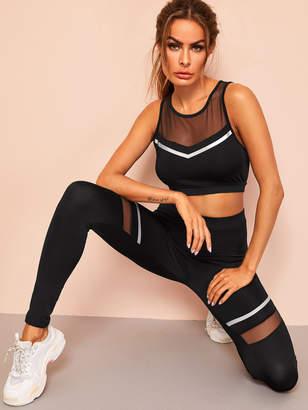 Shein Mesh Insert Striped Sports Bra and Leggings Set