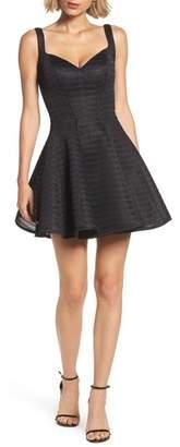La Femme Sweetheart Neoprene Fit & Flare Dress