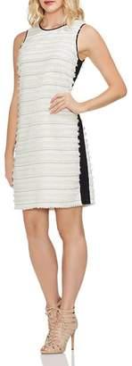 Vince Camuto Fringe Stripe Mixed Media Dress