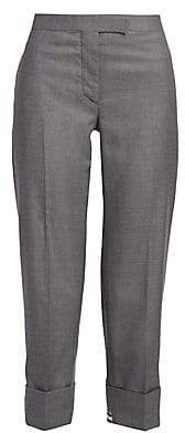 Thom Browne Women's Cuffed Straight-Leg Wool Twill Trousers