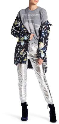 Love Moschino Space Jewels Print Quilted Coat