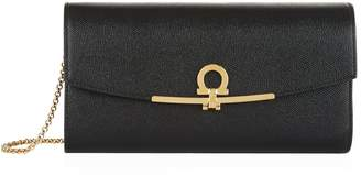 Salvatore Ferragamo Gancini Leather Chain Clutch Bag