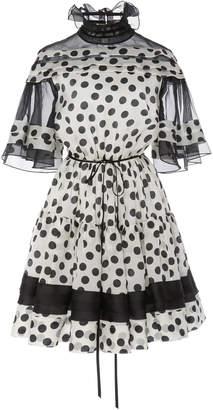 Carolina Herrera Bell-Sleeve Silk Dress
