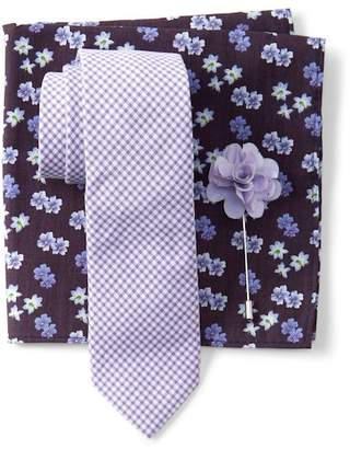Original Penguin Graebner Check Tie, Pocket Square, & Lapel Pin Set