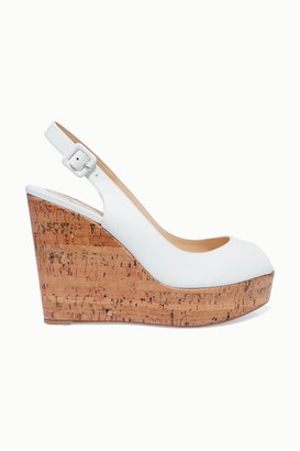 Christian Louboutin Plume Sling 100 Leather Slingback Wedge Sandals - White