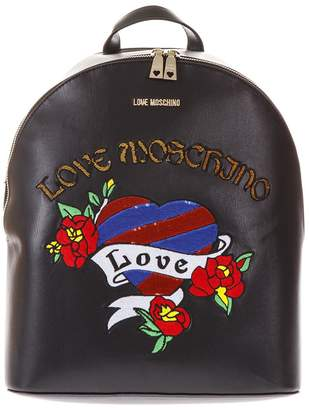 Love Moschino Black Faux Leather Backpack With Heart Pattern