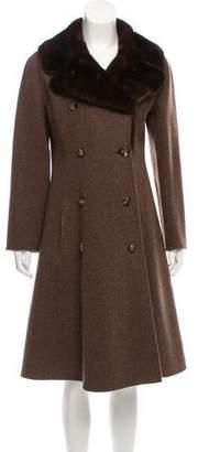 J. Mendel Mink Fur-Trimmed Long Coat