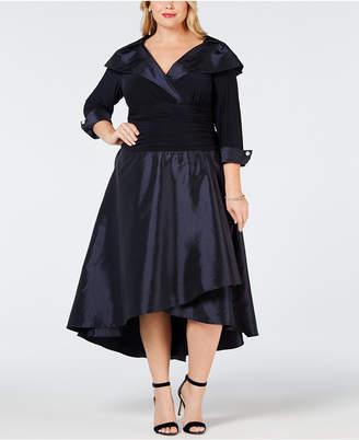 R & M Richards Plus Size Portrait-Collar Dress