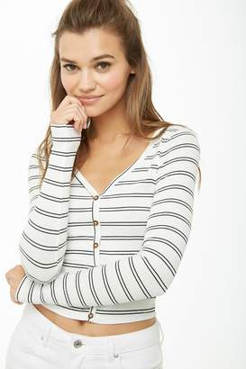Forever 21 Ribbed Knit Pinstriped Top