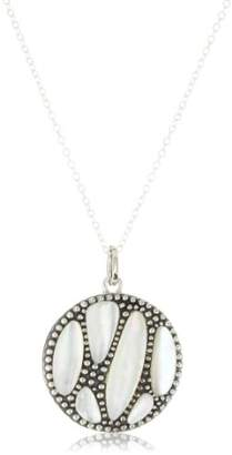"""Argentovivo Lunar"""" Sterling and Pearl Oxi Beaded """"X"""" Pendant Necklace"""