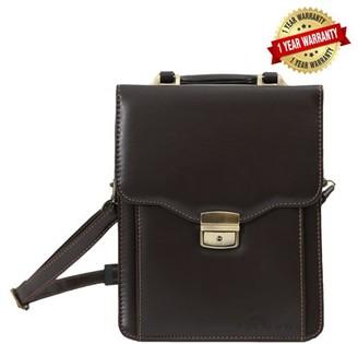 Deerlux DEERLUX Small Brown Leather Messenger Bag, Business Briefcase Tablet Bag