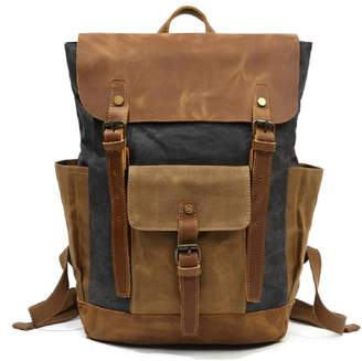 EAZO - Large Waxed Canvas Backpack With Leather Front Pocket In Black