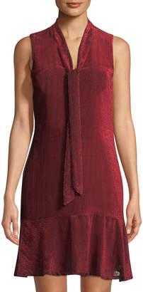 Karl Lagerfeld Paris Pindot Velvet Tie-Neck Dress