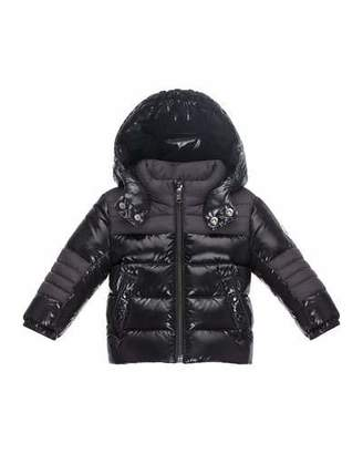Moncler Thibert Hooded Two-Tone Puffer Jacket, Black, Size 12M-3 $385 thestylecure.com