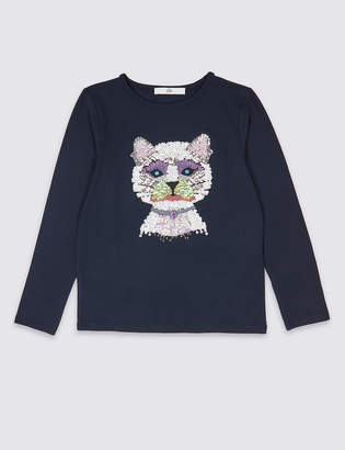 Marks and Spencer Sequin Cat Top (3-16 Years)