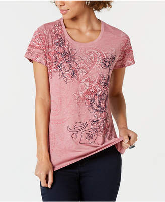 Style&Co. Style & Co Rose Paisley Graphic T-Shirt