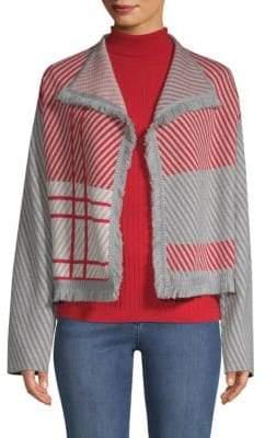 St. John Twilled Plaid Wool Sweater