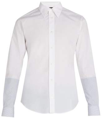 Stella McCartney Simon Contrast Panel Cotton Shirt - Mens - White