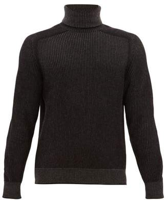 Sease - Dinghy Reversible Ribbed Cashmere Sweater - Mens - Black Grey