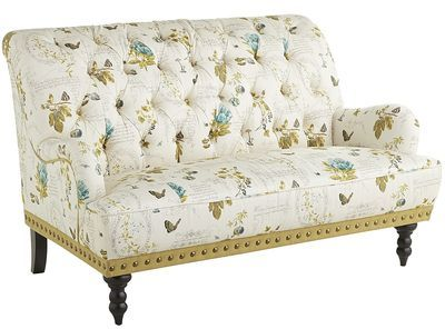 Pier 1 Imports Chas Botany Green & Ivory Floral Loveseat