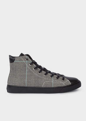 Paul Smith Men's Black And White Check 'Sirius' High-Top Trainers