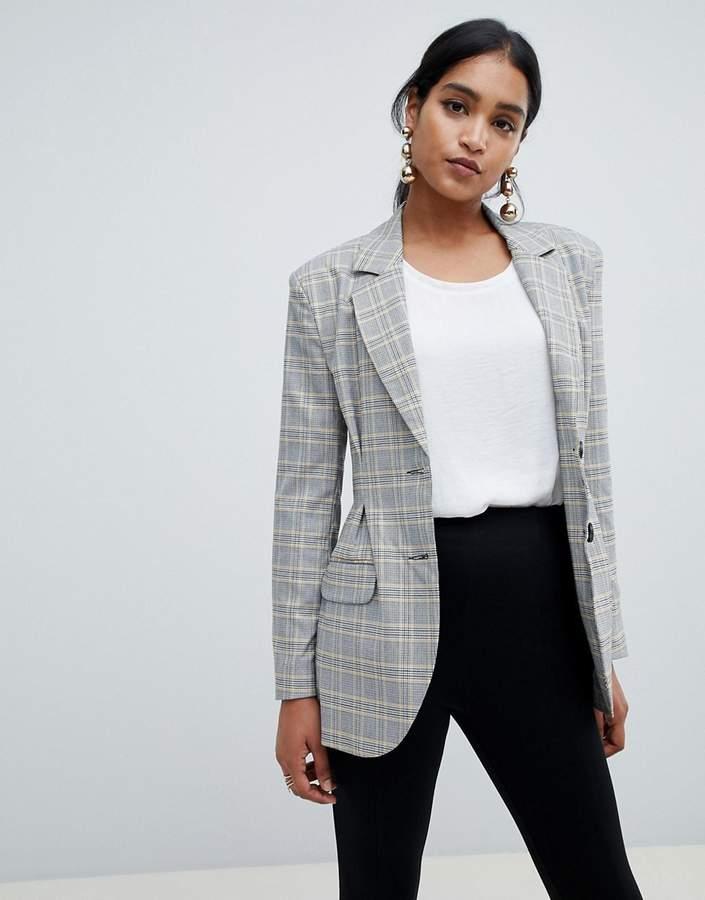 DESIGN tailored pleat waist check blazer
