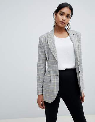 Asos Design DESIGN tailored pleat waist check blazer