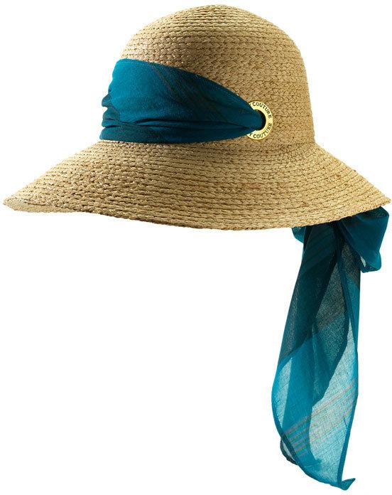 Juicy Couture Stripe Scarf Raffia Hat