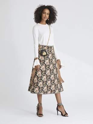 Oscar de la Renta Tapestry Floral King Twill and Stripey Dots Skirt