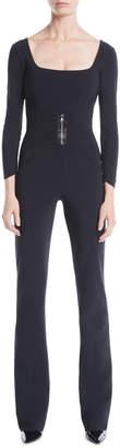 Chiara Boni Huma Square-Neck Jumpsuit w/ Zip Front