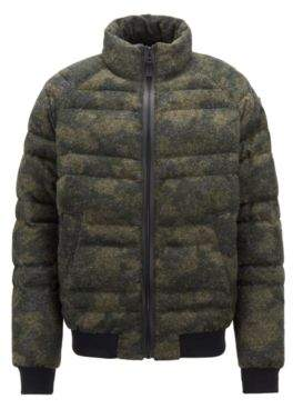 BOSS Hugo Down jacket in felted camouflage fabric 42R Dark Green