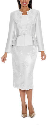GIOVANNA COLLECTION Giovanna Collection Women's Soutache Embellished Peplum 3 Piece Long Sleeve Skirt Suit