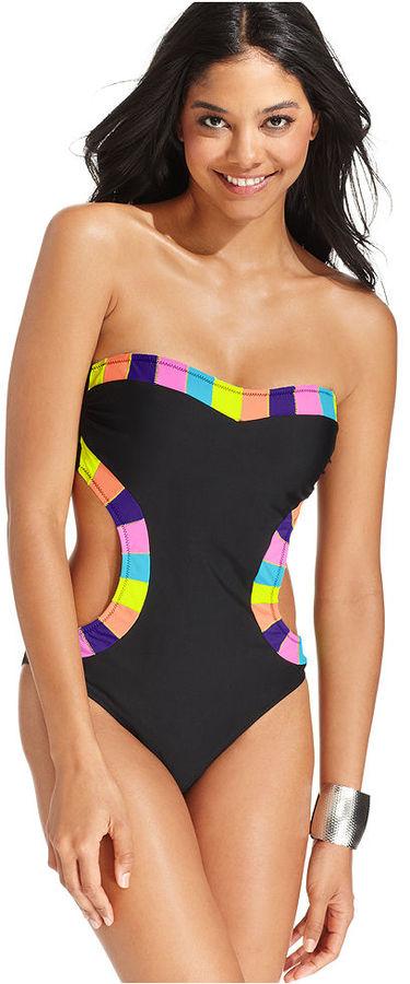 Jessica Simpson Swimsuit, Bandeau Contrast-Trim One-Piece Monokini