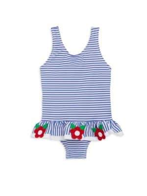 Florence Eiseman Baby's Seersucker Embroidered Swimsuit
