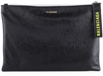 Balenciaga Men's Leather Pouch with Logo-Print Pull