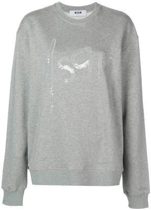 MSGM oversize embellished logo sweatshirt