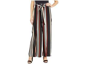 Angie Wide Leg Striped Pants with Slit and Front Tie Women's Casual Pants