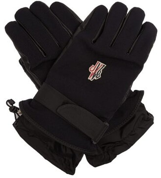 Moncler Twill And Leather Technical Ski Gloves - Mens - Navy