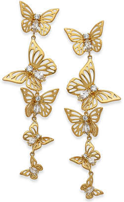 Kate Spade Gold-Tone Crystal Butterfly Linear Drop Earrings