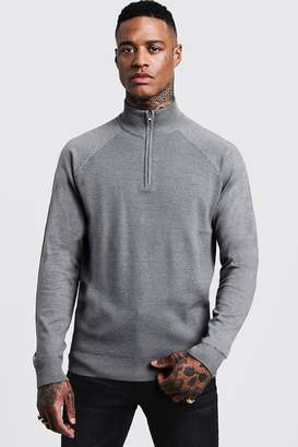 boohoo Muscle Fit Half Zip Turtle Neck Sweater