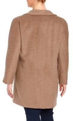 Ellen Tracy Plus Pickstitched Wool-Blend Walker Coat