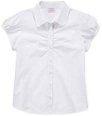 Izod EXCLUSIVE Button-Woven Top - Girls 7-18 and Plus