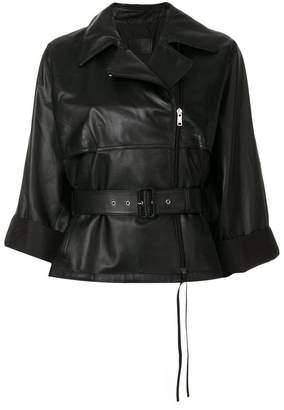 belted loose-fit biker jacket