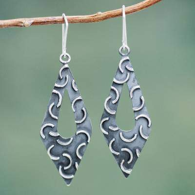 Burnished Sterling Silver Earrings Crafted by Hand, 'New Moon Rhombus'