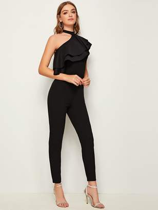 Shein Choker Neck One Shoulder Layered Ruffle Trim Jumpsuit