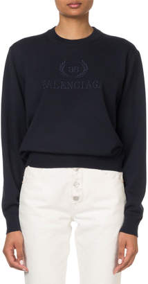 Balenciaga Logo-Embroidered Crewneck Sweatshirt